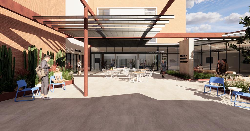 Rendering of the new School of Art patio
