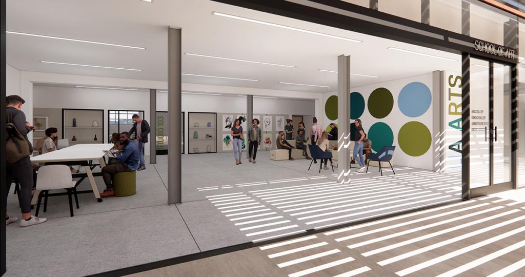 Rendering of the new School of Art lobby